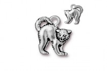 Charm, Scary Cat, TierraCast®: ,Antique Silver - plated pewter (tin-based alloy), 16.2mm.