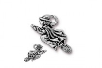 Charm, Witch, TierraCast®: ,Antique Silver - plated pewter (tin-based alloy), 23mm.
