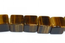 Tiger Eye (Natural) A Grade Big Hole Cube Gemstone Beads