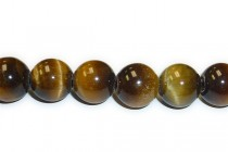 Tigers Eye (Natural) Smooth Round Gemstone Beads - Large Hole (Sale)
