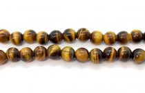 Tigers Eye (Natural) Smooth Round Gemstone Beads - Large Hole