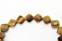 Tigers Eye (Natural) Faceted Square Gemstone Beads - Diagonally Drilled