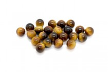 Tigers Eye (Natural) Half Drilled Smooth Round Gemstone Beads