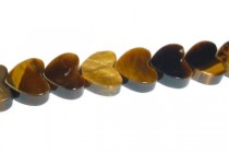 Tigers Eye (Natural) Heart Gemstone Beads