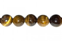 Tigers Eye (Natural) Smooth Round Gemstone Beads - AB Grade