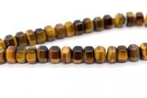 Tigers Eye (Natural) Six Sided Drum Gemstone Beads