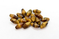 Tigers Eye (Natural) Six Sided Double Cone Gemstone Beads