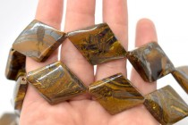 Tiger Iron (Natural) Flat Diamond Gemstone Beads with Rounded Edges