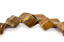 Tiger Iron (Natural) Flat Diamond Gemstone Beads with Curved Edges