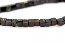 Tiger Iron (Natural) Cube Gemstone Beads