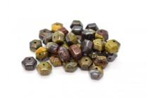 Tiger Iron (Natural) Six Sided Drum Gemstone Beads