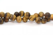 Matte Tigers Eye (Natural) Smooth Round Gemstone Beads
