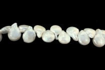 Top Drilled Coin Freshwater Pearls, White, A Grade, 11x15mm