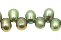 Top-Drilled Freshwater Teardrop Pearls - Peacock Green Medium