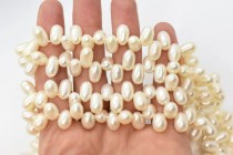 Cream Top Drilled Oval Freshwater Pearl Beads