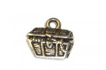 Charm, Treasure Chest, TierraCast®: ,Antique Silver - plated pewter (tin-based alloy), 15mm.