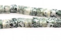 Tree Agate (Natural) Cube Gemstone Beads