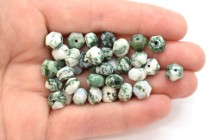 Tree Agate (Natural) Six Sided Drum Gemstone Beads
