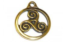 Antique Gold Plated Celtic Triskele Pendant - TierraCast®