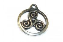 Antique Silver Plated Large Celtic Triskele Pendant - TierraCast®
