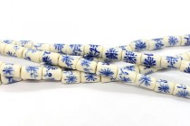 Blue Willow Style Porcelain Tube Beads