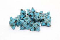Aqua Blue Cloisonne Puffed Diamond Beads with Star Details CL-34