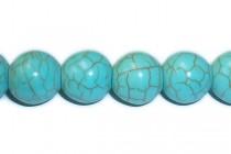 Magnesite (Dyed/Treated) Turquoise Blue Smooth Round Gemstone Beads