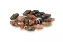 Turtle Shell Agate (Natural) Six Sided Double Cone Gemstone Beads