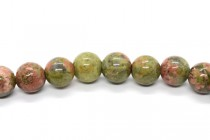 Unakite (Natural) Smooth Round Gemstone Beads - Large Hole