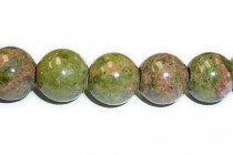 Unakite (Natural) A Grade Big Hole Round gemstone Beads