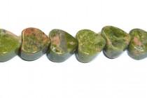 Unakite (Natural) Heart Gemstone Beads