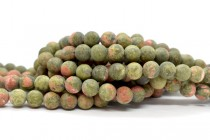 Matte Unakite (Natural) Smooth Round Gemstone Beads