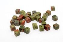 Unakite (Natural) Cube Gemstone Beads