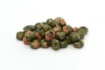 Unakite (Natural) Six Sided Drum Gemstone Beads