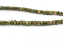 Unakite (Natural) Faceted Rondelle Gemstone Beads