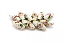 White Cloisonne Rice Beads with Colorful Floral Design CL-146
