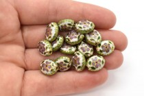 White Cloisonne Flat Oval Beads with Pink Flowers & Green Edges LSC-1