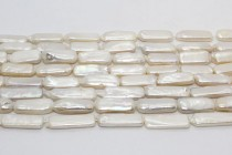 Stick ( Long Drilled ) / Rectangle Freshwater Pearl - White, ( Dyed  ) 9x22mm-10x20mm