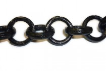 Wood, Circle, Ring, Linked Chain - Black