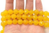Agate (Dyed) Faceted Disco Ball Cut Round Gemstone Beads - Yellow, Dark