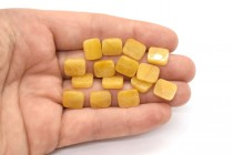 Yellow Calcite (Coated) Flat Rectangle Gemstone Beads