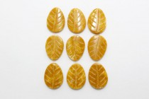 Yellow Jasper (Natural) Carved Leaf Gemstone Beads