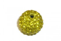Yellow Chinese Crystal Pave Round Bead