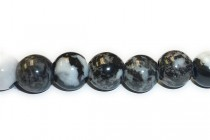 Zebra Jasper (Black & White) Big Hole Round Gemstone Beads