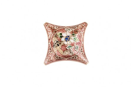 Enamel Coral Floral Diamond - Focal Bead