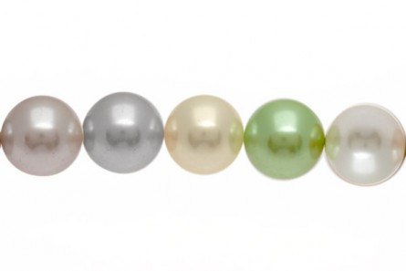Mother of Pearl, Pearlized shell, Coated, Round Beads, 16mm,Multi,1Y