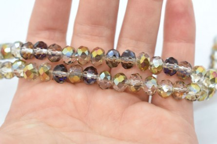 Gold Purple Smoky AB Dark Chinese Crystal Rondelle Glass Beads