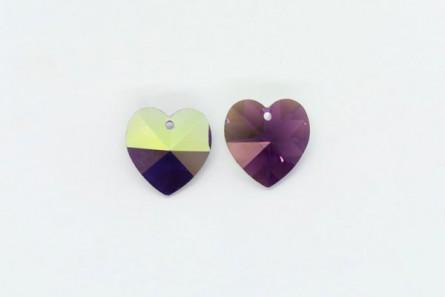 Amethyst AB,Drop,Swarovski crystals, faceted heart pendant (6202).
