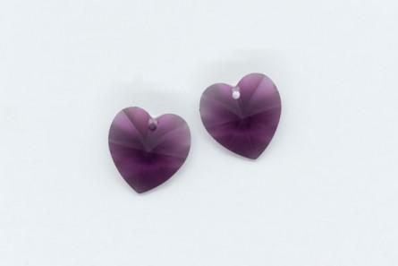 Amethyst,Drop,Swarovski crystals, 14.4x14mm faceted heart pendant (6202).