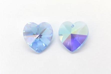 Aquamarine AB Drop,Swarovski crystals, 14.4x14mm faceted heart pendant (6202).